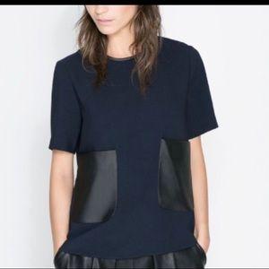 Zara leather pocket blouse